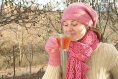 gorąca herbaciana kobieta Zdjęcie Stock