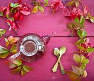 Gorąca herbata w jesieni Obrazy Royalty Free