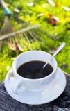 Gorąca kawa outdoors Fotografia Stock