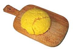 Gorąca polenta na rocznik drewnianej desce Obraz Royalty Free