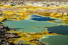 Gorące wiosny w Dallol, Danakil pustynia, Etiopia Zdjęcie Royalty Free