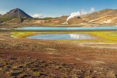 Gorące wiosny w Myvatn terenie - Iceland. Zdjęcia Stock