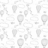 Gorącego powietrza baloon bezszwowy wzór Obrazy Royalty Free