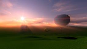 Gorącego powietrza latania balonem festiwal w zmierzchu Obraz Stock