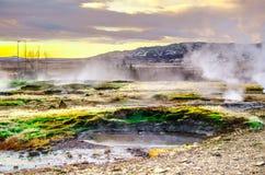 Gorący gejzery dolinni w Iceland Zdjęcia Royalty Free