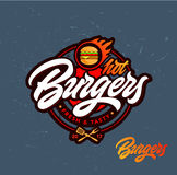 Gorący hamburgeru wektoru logo Fotografia Stock