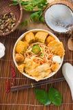 Gorący i korzenny Singapur curry'ego kluski Zdjęcia Royalty Free