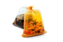 Gorący jedzenie w plastikowych workach Obraz Stock