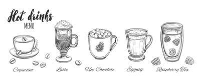 Gorący napoju menu projekta elementy herbaciani projektów kawowi elementy Ilustracja Wektor