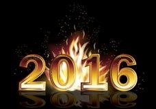 Gorący nowy 2016 rok ogienia sztandar, wektor Fotografia Royalty Free