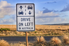 GOR drive on left sign Stock Photos