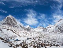 Gorak Shep village in Everest Region, Nepal, Himalayas. Gorak Shep village and Pumori peak view - Himalaya Mountain landscape in Sagarmatha National Park Royalty Free Stock Images