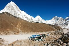 Gorak Shep village and Kala Patthar - Nepal Stock Photo