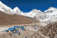 Gorak Shep village, mount Pumo Ri and Kala Patthar Royalty Free Stock Photo