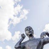 Goran Karlsson, the founder of GeKas emporium in 1963, a bronze. Bronze statue of Goran Karlsson, the founder of GeKas emporium in 1963, Ullared, Sweden Stock Image