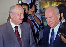 Gorbachev Meets Rabin in Jerusalem Royalty Free Stock Images