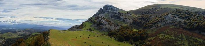 Gorbea at autumn. Gorbea mountain panoramic view from Arraba fields stock photos