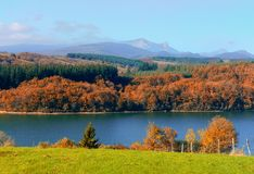 Gorbea mountain in Autumn. With Albina reservoir royalty free stock image