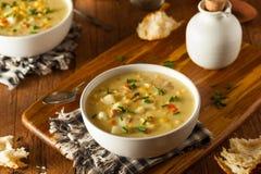 Gorąca Domowej roboty Kukurydzana gęsta zupa rybna Fotografia Royalty Free