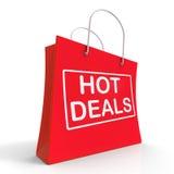 Gorące transakcje Na torba na zakupy przedstawień tranzakcja sprzedaży Zdjęcie Stock