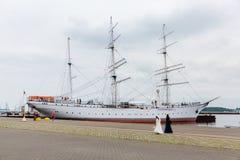 Gorch Fock我施特拉尔松德,德国港的  图库摄影