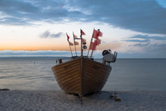 beautiful old sailship on the beach Stock Photo