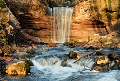 Gorchakovschina waterfall Royalty Free Stock Images