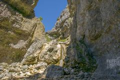 Gordale Scar, Yorkshire Dales National Park, North Yorkshire, UK. Gordale Scar is a limestone ravine in the Yorkshire Dales National Park, England. It contains Royalty Free Stock Photos