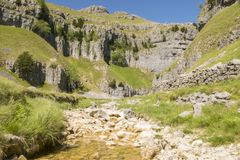 Gordale Scar, Yorkshire Dales National Park, North Yorkshire, UK. Gordale Scar is a limestone ravine in the Yorkshire Dales National Park, England. It contains Stock Images