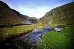 Gordale Valley. Gordale beck and valley, Malham Stock Image