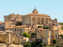 Gordes. Castle and church in village of Gordes, Provence, France Royalty Free Stock Photos