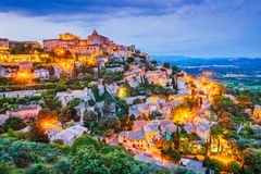 Gordes, Provence in France. Gordes famous old village in Provence amazing sunset in France stock image