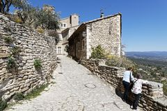 Luberon region is a favourite destination. GORDES, FRANCE, April 6, 2018 : Luberon region is a favourite destination for French, British and American visitors Royalty Free Stock Photo