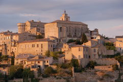 Gordes hilltop, Provence, France. Gordes hilltop at sunset, Provence, France Stock Photo