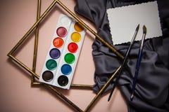 Gordijn en aquarelle Stock Foto's