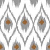 Gordijn van het Ikat het bruine vector naadloze patroon, textielontwerp, bedlinnen, behang, de achtergrond van de oppervlaktetext Royalty-vrije Stock Foto's