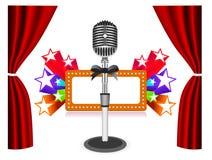 Gordijnen met microfoon Royalty-vrije Stock Foto's