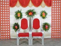 Gordijnen met stoelen Royalty-vrije Stock Fotografie