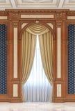 Gordijnen op een gesneden gebied van hout in een klassieke stijl stock illustratie