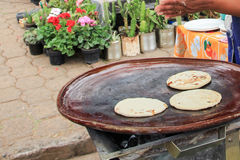 Gorditas. Handmade gorditas on a makeshift hot plate, at a market in Tzintzuntzan, Michoacan, Mexico Stock Photography