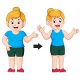 Gordo para caber la transformación del cuerpo de la mujer libre illustration