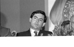 Gordon Brown. British Prime Minister and Labour Party Leader, at a press conference on May 24, 1990 in London Stock Image