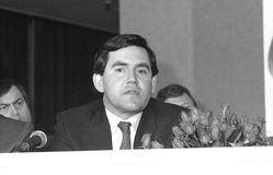Gordon Brown. British Prime Minister and Labour Party Leader, at a press conference on May 24, 1990 in London Stock Images