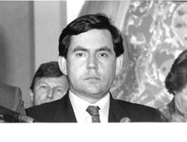 Gordon Brown. British Prime Minister and Leader of the Labour Party, at a press conference in London on May 24, 1990 Stock Photography