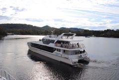 Gordon river cruises Strahan, Tasmania. Scenic day cruise on Gordon River from Strahan, Southern Royalty Free Stock Image
