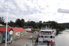 Gordon river cruises Strahan, Tasmania. Scenic day cruise on Gordon River from Strahan, Southern Stock Photo