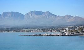 Gordons Bay, South Africa. A view of Gordons Bay, South Africa with Hottentots Holland Mountains in the background (near Cape Town Royalty Free Stock Image