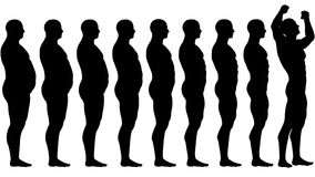 Gordura a caber antes após o sucesso da perda de peso da dieta ilustração stock