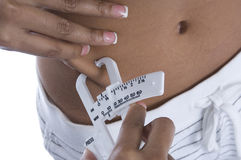 Gordura de medição Fotografia de Stock