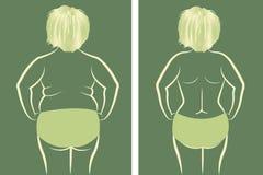 Gordura e menina magro ilustração do vetor